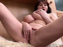 Fat Mom Strips And Masturbates Alone