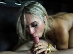 Sexy shemale loving huge dick with her lips