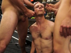 Threesome gay sex with the trainer