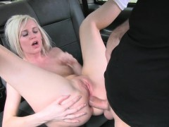 Hot blonde passenger gets screwed in her anal by driver