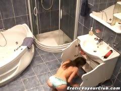 Spy camera filming hot brunette goddess Lilia taking an