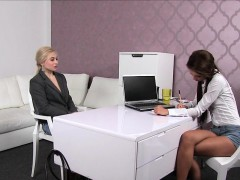 Blonde masturbates in casting interview