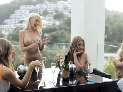 Sweet lesbians are arousing every other with sexy massage