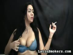 Busty MILF Smoking Fetish Model