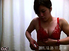 Skinny Asian girl with tiny tits changes from a blue robe i