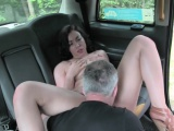 Sexy amateur brunette babe gets nailed by taxi driver