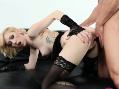 Raunchy blonde Maia Davis in sexy stockings while she takes