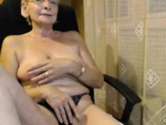 Granny in panties masturbating