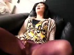 Horny Asian milf has fun with sex toys and takes a dick in