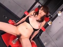 Asian milf, Rina Wakamiya, pumped in serious manners