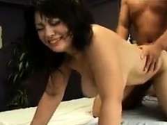 Big breasted Asian nympho gets her hairy peach stuffed with