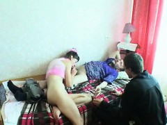 Busty Russian Cougar And Young Girl Seduces Guy To Group Sex