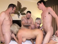 Hot milf gangbang and facial