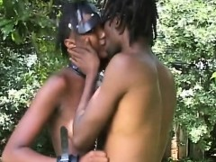 Nasty African slut nipple tormented and throat fucked while
