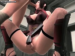 Animated whore in stockings riding