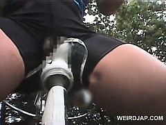 Teen japanese girls dildo fucked while riding bikes