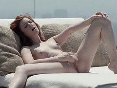 gentle redhead opening vagina outside
