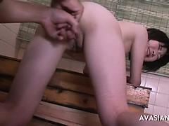 Slim asian slut gets ass fingered in bathroom