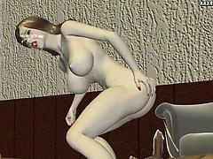 Animated hooker drinks hot sperm