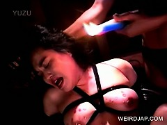 Shy Japanese sex slave gets hot wax dripped on herself