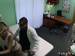 Blonde saleswoman fucked by doctor in office