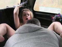 Blonde MILF anal fucked in fake taxi in public