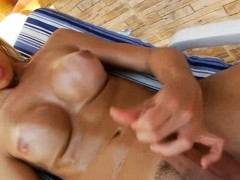 Naughty sexy blonde tgirl gone wild in a hot solo action