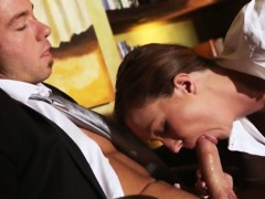 Superb secretary Maddy Oreilly teasing and fucking her boss