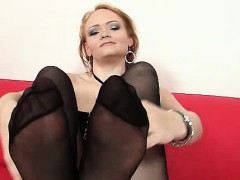 Redhead hottie pulling nylon nylons out her fuck hole