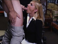Sexy milf pawns her pussy and pounded by horny pawn man