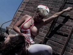 Bigtit nurse getting fucked hardcore on rooftop