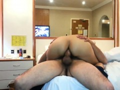 A huge dick for my mature white wife in the hotel room