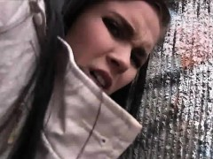 Sexy babe fucks in alleyway outdoor