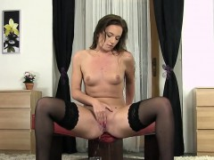 Flawless cutie is pissing and rubbing bald twat