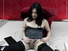 Ultra Horny Shemale Strokes Her Cock