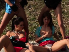 Lesbos pissing outdoors