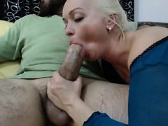 Astonishing amateur blond sucks on a cock that is huge