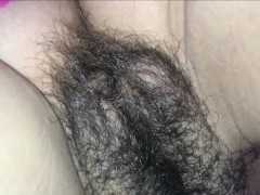 Teasing and jizzing her hairy pussy