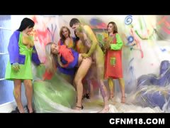 Amateur CFNM party with 5 teens