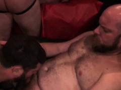Mature bears assfucking during orgy