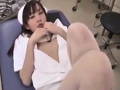 Sultry Japanese nurse in white stockings expresses her love