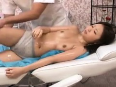 Hot Japanese babe with tiny tits gets sexually fulfilled by