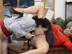 Lesbian Boss Has Muffdiving Time With Intern