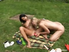 Lesbian fun on the grass