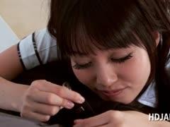 Asian cute schoolgirl teasing craving cock in POV style