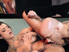 Glamorous tattoo babe squirting during sex