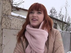 Redhead flashing tits to agent outdoor