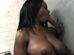 Busty Ebony Nikita Blade Takes Gloryhole Cock