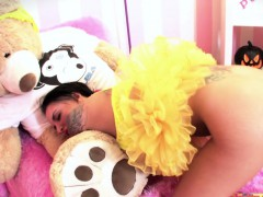 Christy Mack dresses up for Halloween then plays with