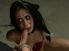 Tied up slave beauty got pleasured